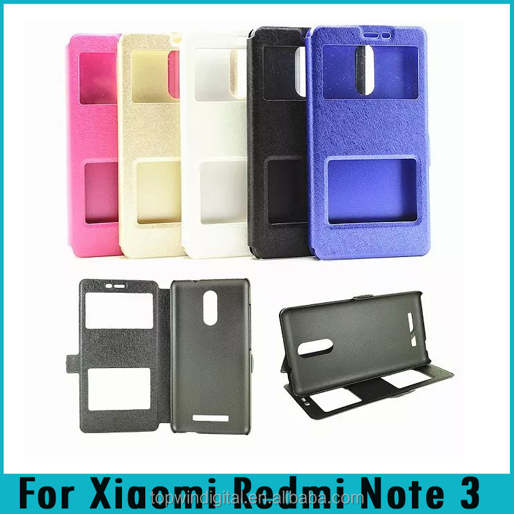 For Xiaomi Redmi Note 3 Double Window Silk Stand Magnetic Flip PU Leather Case For Xiaomi Redmi Note 3
