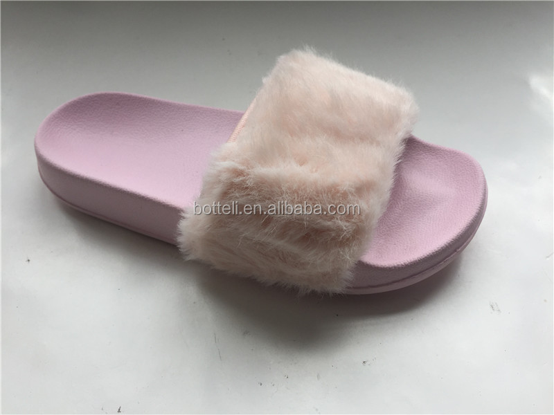Hot sale Cool Colorful Ladies Comfy Fur EVA PINK Slider Slipper Fashion slide shoes