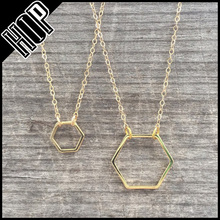 Hollow outline simple alloy hexagon gold necklace without stones