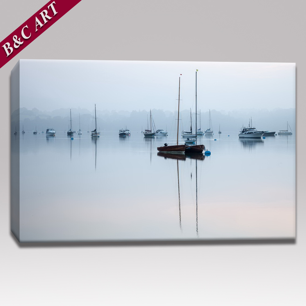 Sea Sailboats Scenery Painting Pictures Modern Fabric Printing Design for Wall Art