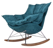 High quality home furniture, colorful rocking fabric chair with metal and wooden leg