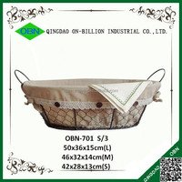 Decorative metal basket with fabric