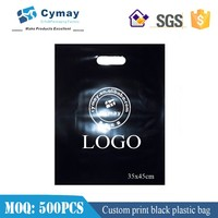 Black plastic bag with logo print for coffee bag 35x45cm