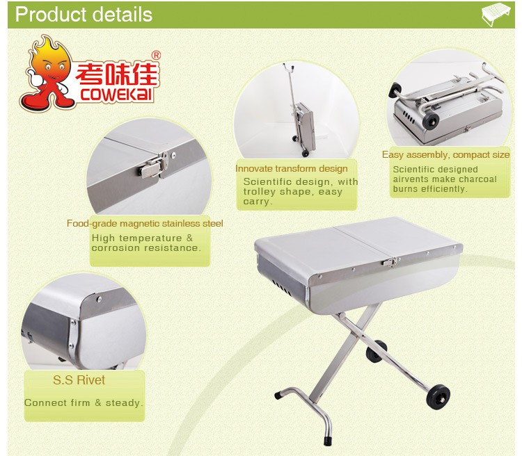 Fashion design portable trolley bbq with lids and wheels