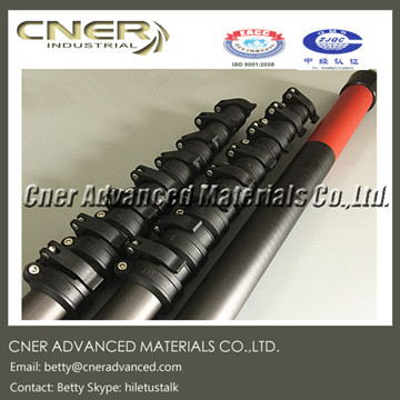 Carbon fibre telescopic pole for water fed pole with patent clamp