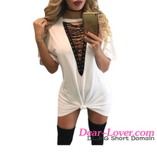 Young Ladies 2016 Summer Bodycon Short Sleeve Sexy White Dresses