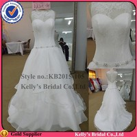 Romantic design high collar with laciness beaded belt wedding dresses imported from china