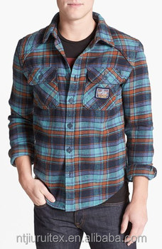 Mens quilted flannel shirt,checked long sleeve winter shirt wholesale