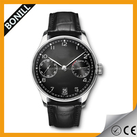 classic leather outdoor sport black face watch chronograph 0EM men watch 5atm
