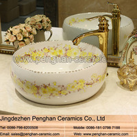 Chinese famille rose art ceramic bathroom wash face basin