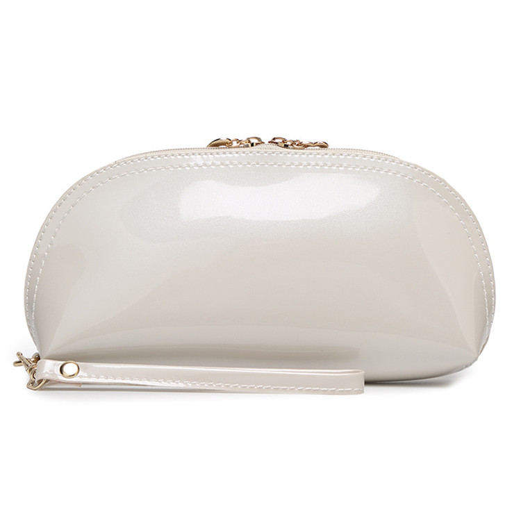 luxury gold zipper white cosmetic bag