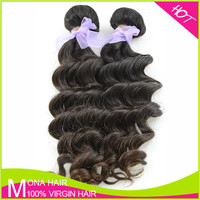 Hotsell full cuticel dyeable Brazilian loose deep wave weave hairstyle