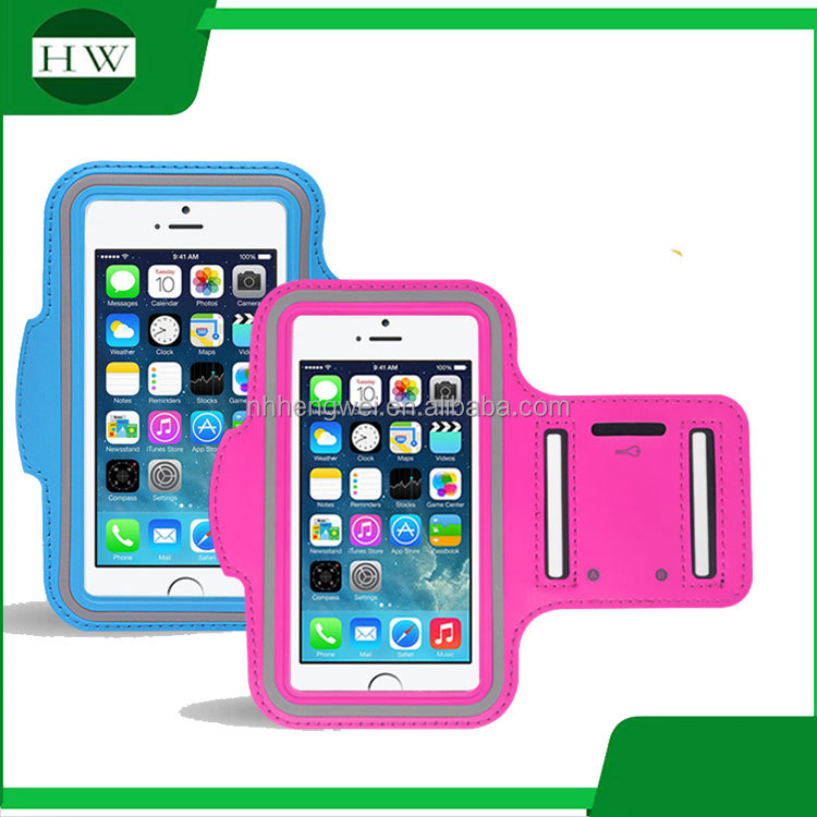 pvc reflective luminous sport running waterproof mobile phone bag arm band armband for iphone 6/Samsung with key holder