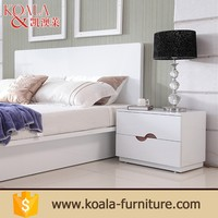 Bedroom furniture modern white walnut veneered panel bed sideboard