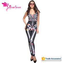 manufacturers china Sugar Skull Adult Womens Halloween Catsuit Costume