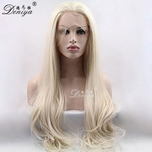 Virgin russian hair blonde ponytail lace front wig