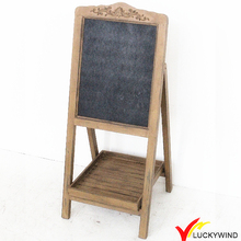 Free Standing Rustic Recycled Wood Chalkboard with A Shelf
