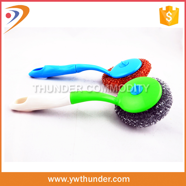 2016 New Mesh Kitchen Copper-Coated Scourer With A Plastic Handle