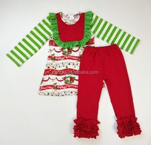 Wholesale baby girl new arrival christmas stripe red and green long sleeve children clothing sets