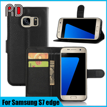 High quality Lychee Emboss Wallet Leather Mobile Phone Flip Cover Case for Samsung S7 edge