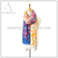 2015 beautiful yellow and navy vine leaf print stock voile scarf