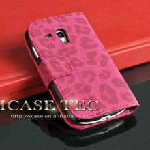 leather case for samsung galaxy s3 mini i8190 leopard phone