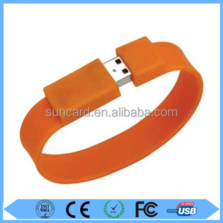Free sample cheapest silicone bracelet usb pen drive