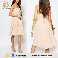 2016 Guangdong shandao plain dyed chiffon summer fashion casual strapless beige evening dress
