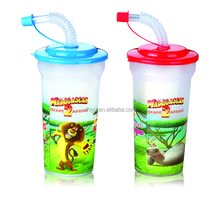 BPA Free Plastic Freezer Cup With Lid And Straw