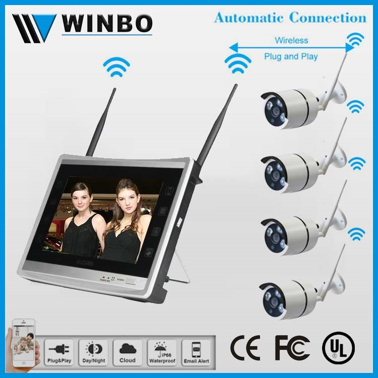 11inch LCD Monitor NVR with 4ch outdoor wireless ip camera system wifi nvr kit wholesale
