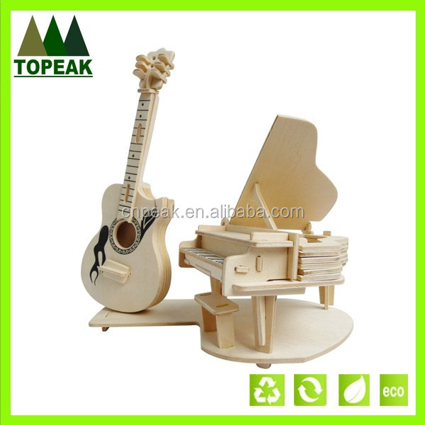 DIY puzzle toys 3D wooden Musical Instruments simulation model children puzzle toys