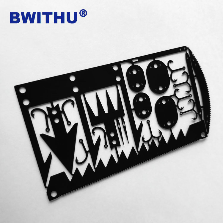Multi function outdoor camping survival card stainless steel wilderness survival tool card