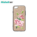 Custom Design Bright Color Embroidery Plastic Mobile Phone Case for iphone8