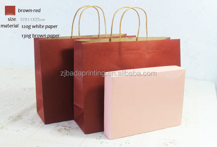 Recycled Cheap Brown Kraft Paper Bags With Handles/Custom Shopping Paper Bag