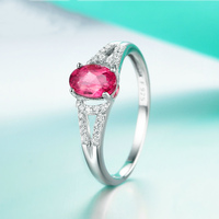 natural rubellite tourmaline 925 Sterling Silver ring