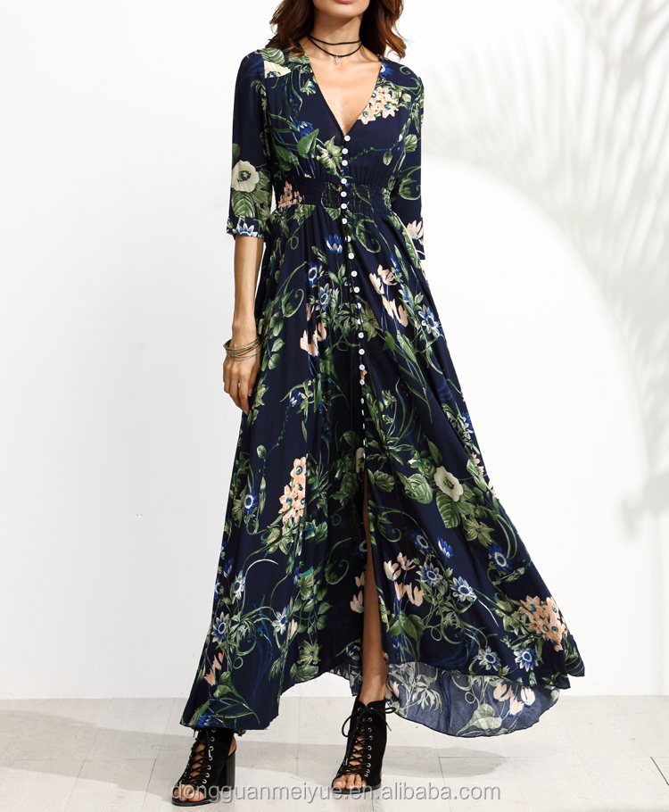 OEM Hot sale chiffon Floral Print Half Sleeve Deep V Neck Button Front Long Maxi Dress