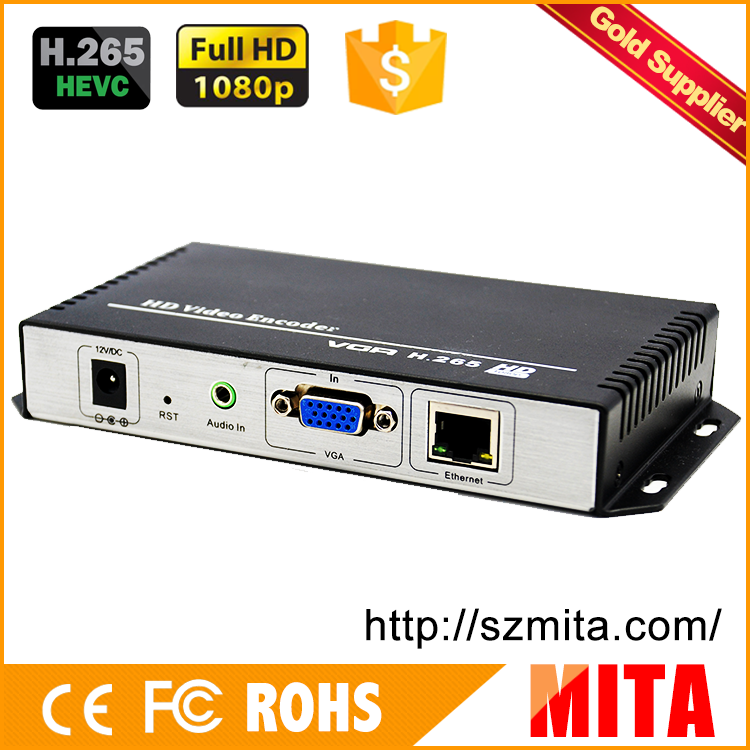 H.265 VGA Video + Stereo Audio To IP Streaming Encoder For IPTV, Live Streaming Broadcast, Media Server