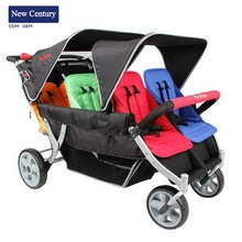 NEW CENTURY Plastic double buggy led lighting stroller jogger baby carrier made in China