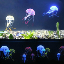 Soft Colorful Silicon Fluorescent Floating Glowing Effect Fish Tank Decoration Aquarium Artificial Jellyfish Ornament