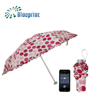 Manufacturer China 5 fold mini pocket cell phone umbrella for ladies
