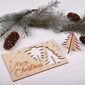 laser cut merry  christmas wood card christmas greeting card and envelope