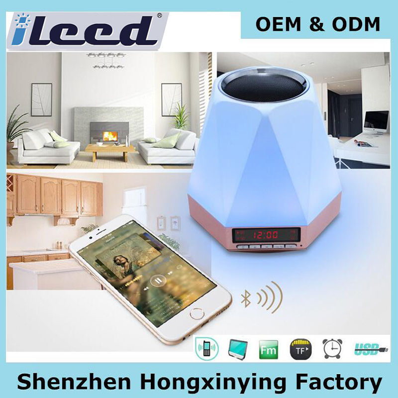 OEM Led light wireless alarm siren speaker, 2017 bluetooth speaker manufacturer with alarm clock