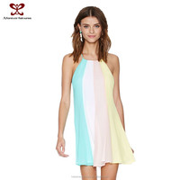 Fashion women simple dresses Europe America rainbow stripe splicing easing back cross leakage chiffon ebay dress 2015