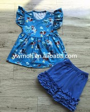 New fashion bulk wholesale kids clothing flutter sleeve princess pattern dress match icing ruffle shorts baby clothes