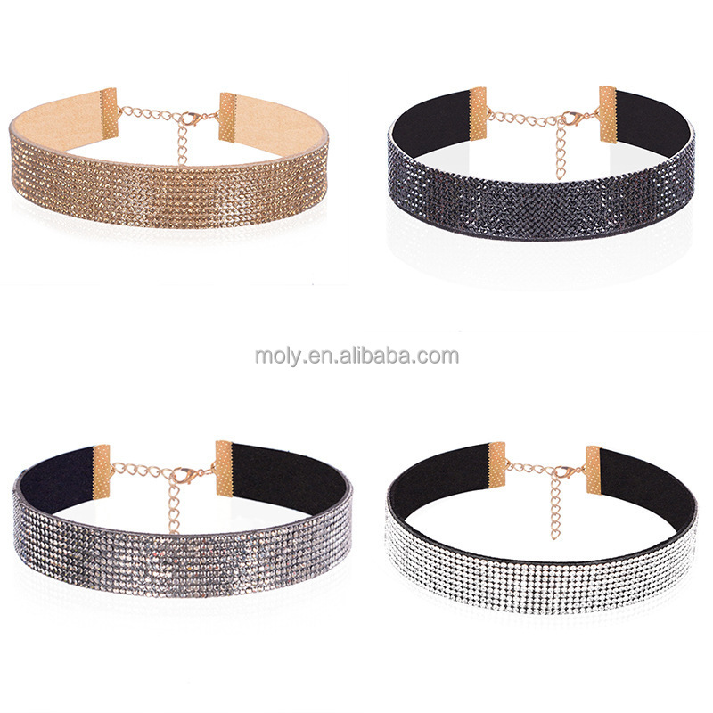 High End Fancy Fashion Punk Wide Multi Row Rhinestone Collar Choker Necklace Jewelry for Party