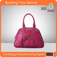 S259 Fashion Popular mitation Leather Quality Polyurethane Fuchsia Tote PU Bag