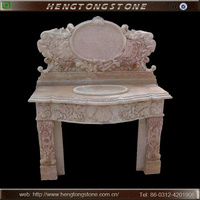 Flower Carved Marble Bath Sink