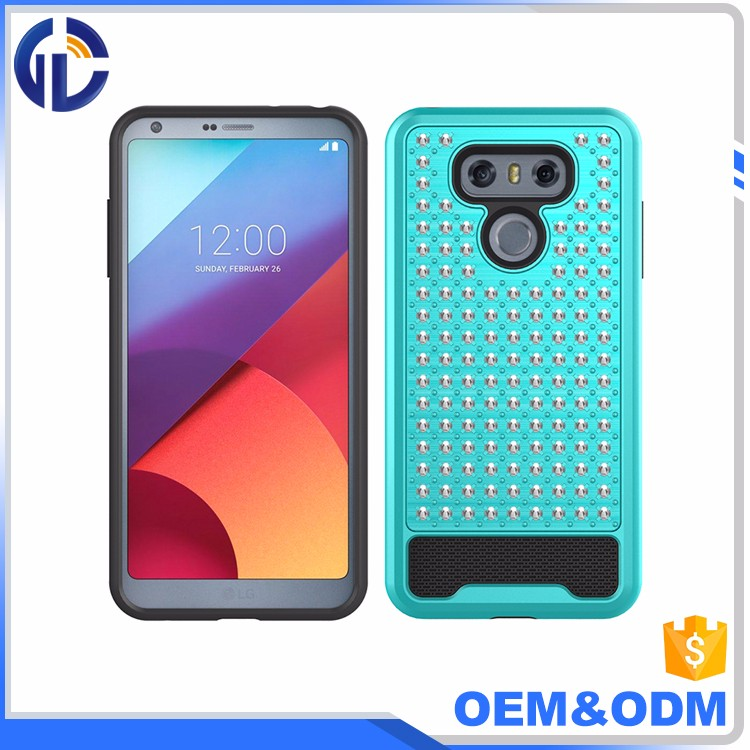 alibaba golden supplier diamond glitter shockproof 2 in 1 cover case for lg g6