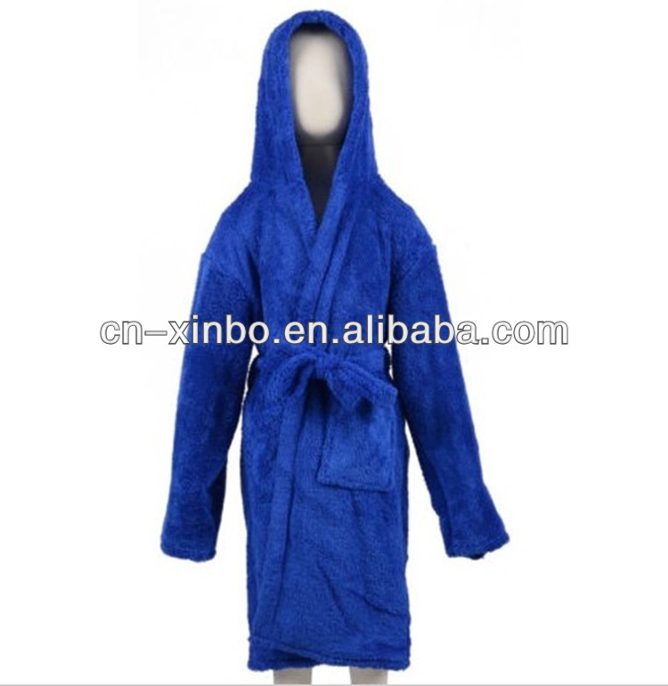 Lovely Children's Blue Coral Fleece Robe Toddler Pajamas Baby Bath Robe