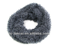 2013 fashion 100% polyester feather yarn knitted snood; loop scarf